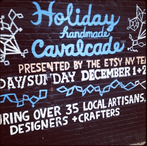 Hand-painted sign outside the Etsy North 3rd Street Holiday Fair